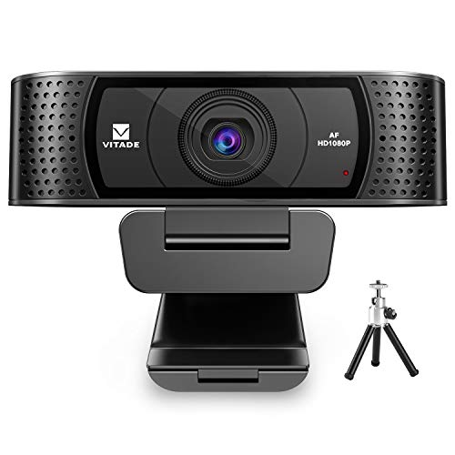 Webcam 1080P with Microphone & Cover, Vitade 928A USB HD Desktop Web Camera Video Cam for Streaming Gaming Conferencing Mac Windows PC Computer Laptop (Tripod Included)