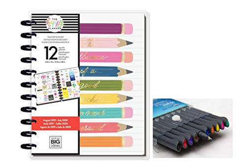 me & My Big Ideas The Happy Planner Big Planner & Color Pen Set, Teacher Edition - Influence of Teacher - Disc-bound Planner - 10 Color Pens - Weekly & Monthly Pages - August 2019 - July 2020 - Big Size - 8.5 x 11 in.