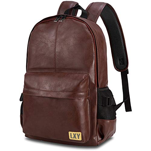 Vintage Backpack Leather Laptop Bookbag for Women Men, LXY Vegan Backpack Brown Faux Leather Bookbag School College Campus Backpack Travel Daypack