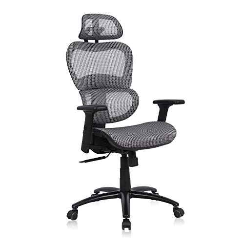 Komene Ergonomic Office Chair, High Back Desk Chairs with Adjustable Headrest backrest, 3D Flip-up Arms, Swivel Executive Chairs for Home and Conference Room