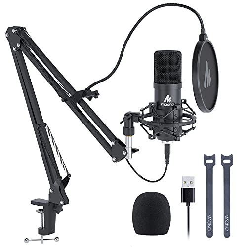 USB Microphone, MAONO 192KHZ/24Bit Plug & Play PC Computer Podcast Condenser Cardioid Metal Mic Kit with Professional Sound Chipset for Recording, Gaming, Singing, YouTube (AU-A04)