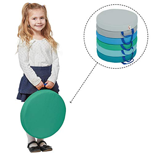 ECR4Kids SoftZone Floor Cushions with Handles - Foam Circle Flexible Seating for Teachers and Students, Round, Contemporary (6-Pack)