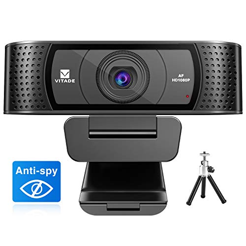 Webcam 1080P with Microphone & Cover, Vitade 928A USB HD Desktop Web Camera Video Cam for Streaming Gaming Conferencing Mac Windows PC Computer Laptop Xbox Skype OBS Twitch YouTube (Tripod Included)