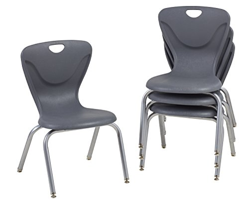 FDP 16' Contour School Stacking Student Chair, Ergonomic Molded Seat Shell with Chromed Steel Frame and Swivel Leg Glides; for in-Home Learning or Classroom - Gray (4-Pack)