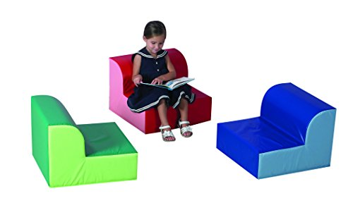 "Children's Factory Library Trio Chairs, 20"" by 20"" by 15"" Each (Set of 3)–Primary Colors – Comfortable for a Range of Ages/Activities, Sturdy/Lightweight, Durable Wipe Clean Cover Material (CF322-388)"