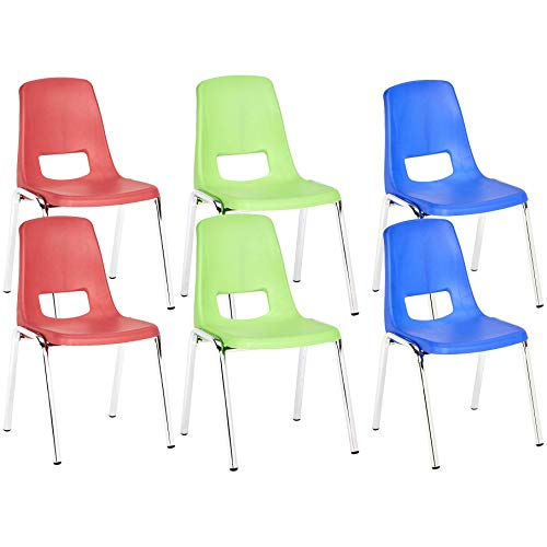 AmazonBasics 14 Inch School Classroom Stack Chair, Chrome Legs, 3 Assorted Colors, 6-Pack