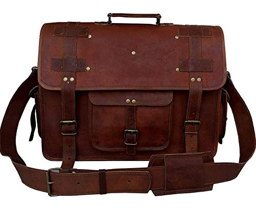 18 Inch Vintage Computer Leather Laptop Messenger Bags for Men Leather Briefcase Shoulder Bag Man & Women Bag (Brown)