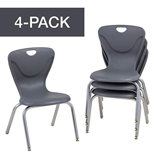 Factory Direct Partners 16' Contour School Stacking Student Chair, Ergonomic Molded Seat Shell with Chromed Steel Frame and Swivel Leg Glides - Gray 4-Pack (10375-GY)