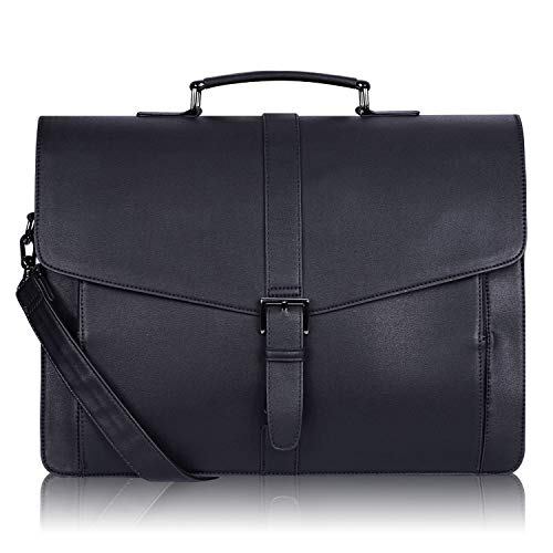 Estarer Men's Leather Briefcase for Travel Office Business 15.6inch Laptop Messenger Bag