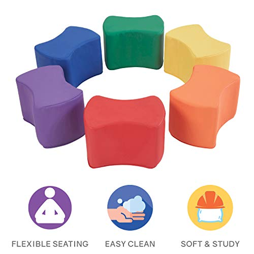 Factory Direct Partners SoftScape Butterfly Stool Modular Seating Set for Toddlers and Kids, Colorful Flexible Seating for Classrooms and Daycares (6-Piece Set) - Assorted