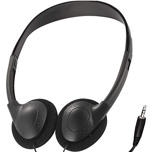 Bulk Headphones Earphone Earbud for Classroom Kids,HONGZAN Wholesale 25 Pack Over The Head Low Cost Headphones in Bulk Perfect for Schools,Libraries,Museums,Hotels,Hospitals,Gym and More (Black)