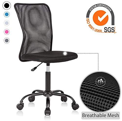 Ergonomic Office Chair with Lumbar Support Mesh Chair with Wheels Rolling Swivel Back Support Adjustable Executive Desk Chair, Modern PC Computer Desk Chair for Home Office Women Men by XXFBag - Black