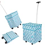 dbest products Smart Cart, Moroccan Tile Collapsible Rolling Utility Cart Basket Grocery Shopping Teacher Hobby Craft Art