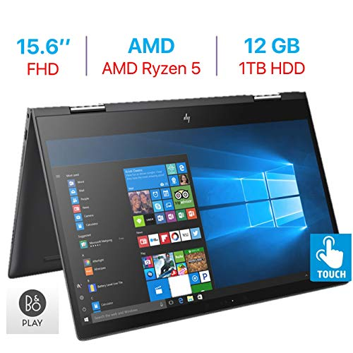 HP Envy x360 15.6'' Touchscreen 2-in-1 FHD (1920x1080) Laptop PC, Quad Core AMD Ryzen 5 2500U up to 3.6GHz, 12GB DDR4 SDRAM, 1TB HDD, Backlit Keyboard, B&O Play, HDMI, Bluetooth, Windows 10