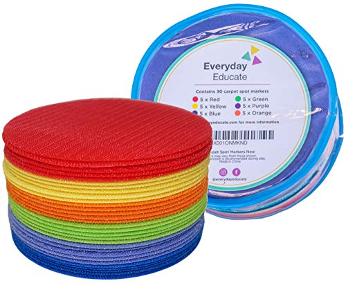 Everyday Educate Carpet Markers- Colorful Sit Spots for Classroom Additional Teaching Material and Marking Tool Keeping Classroom Organized- Sit Markers in 6 Colors (30 Circle)