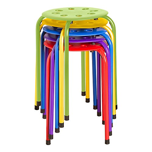Norwood Commercial Furniture NOR-1101AC-SO Plastic Stack Stools, 17.75' Height, 11.75' Width, 11.75' Length, Assorted Colors (Pack of 5)