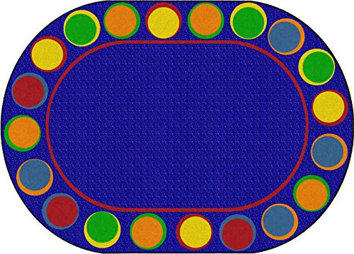 Flagship Carpets Sitting Spots Seating Area Rug for Children's Classroom or Kids Playroom, Seats 20, 6'x8'4', Oval, Blue