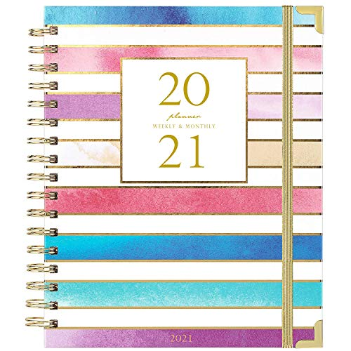 2021 Planner - Weekly & Monthly Planner 2021, Thick Paper with Colorful Tabs - 9.3' x 8.25', Twin-Wire Binding with 15 Notes Pages + Two-Sided Inner Pocket + Ruler