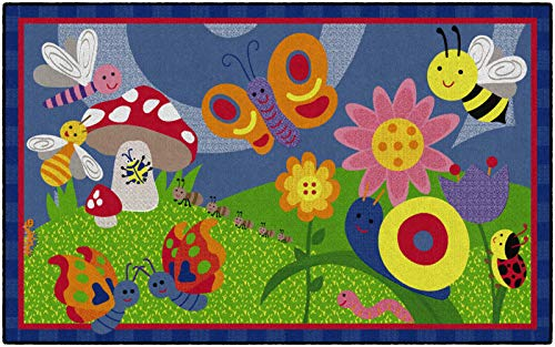 Flagship Carpets Cutie Bugs Kids and Baby Non Slip Area Rug for Home or Classroom Play Room Mat, 5'x8', Rectangle