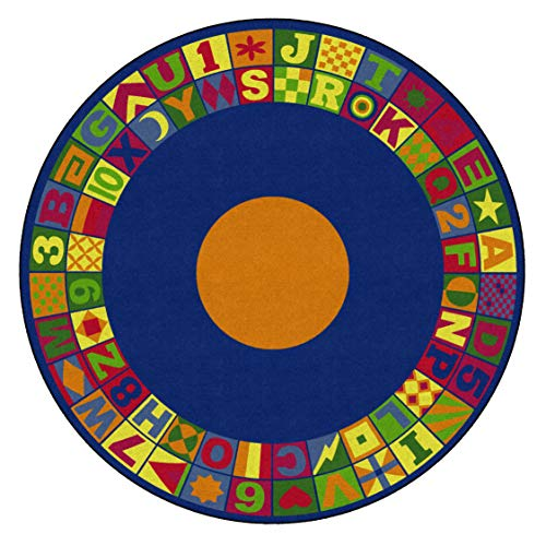 Flagship Carpets Floors That Teach Activity Rug, Ideal for Circle Time and Other Activities, Children's Classroom Educational Carpet, 8' Round, 96' Length, 0' Width, Multi-Color