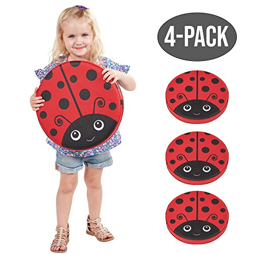 ECR4Kids SoftZone Ladybug Seating Cushions, Alternative Flexible Seating, Floor Cushions for Kids, 4-Pack