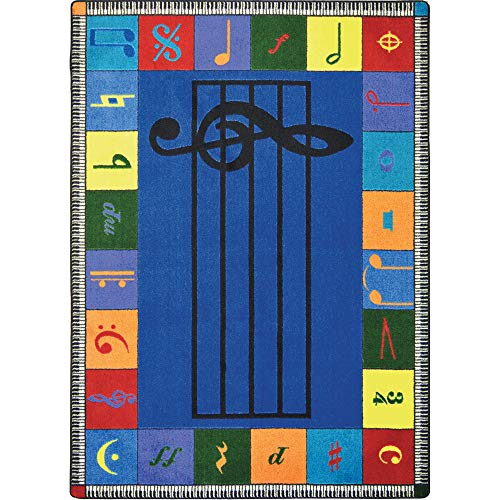 Joy Carpets Kid Essentials Music and Special Needs Elementary Note Worthy Rug, Multicolored, 5'4' x 7'8'