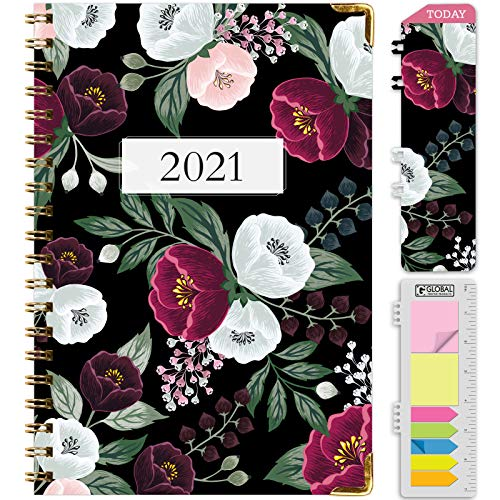 HARDCOVER 2021 Planner: (November 2020 Through December 2021) 5.5'x8' Daily Weekly Monthly Planner Yearly Agenda. Bookmark, Pocket Folder and Sticky Note Set (Black Floral 2)