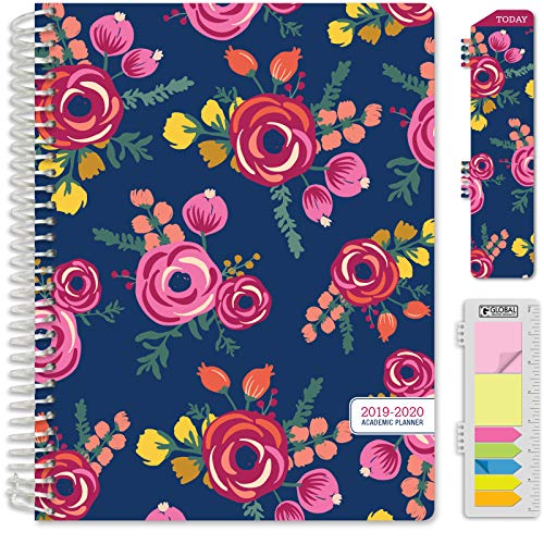HARDCOVER Academic Planner 2019-2020: (July 2019 Through July 2020) 8.5'x11' Daily Weekly Monthly Planner Yearly Agenda. Bonus Bookmark, Pocket Folder and Sticky Note Set (Bloom Cover)