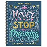 2021-2022 Teacher Planner - Weekly & Monthly Teacher Planner from July 2021 - June 2022, 8' x 10', Twin-Wire Binding, Flexible Cover, Beautiful Lesson Planner for Teacher