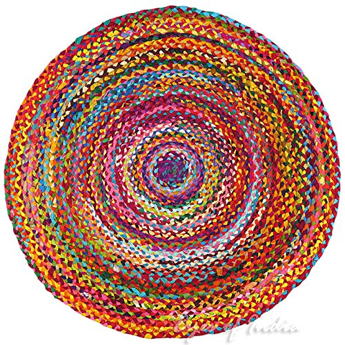 Eyes of India - 6 ft Round Colorful Woven Chindi Braided Area Decorative Rag Rug Indian Bohemian Accent Boho Chic Handmade Handwoven