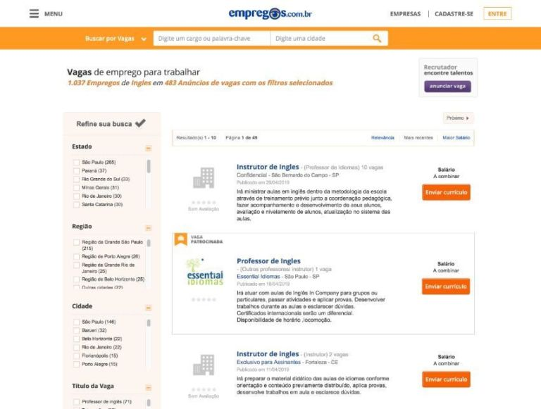 Job classifieds for English teachers in Brazil, on empregos.com.br