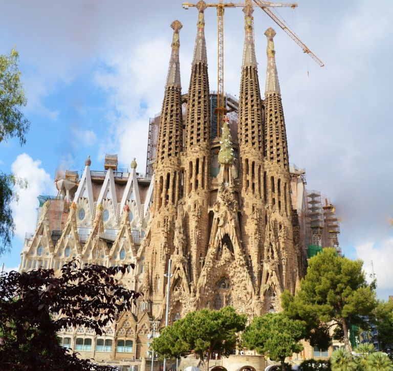 The world-famous Sagrada Familia church in Barcelona, Spain