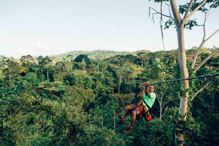 """Ziplining"" in the Costa Rican rainforest"