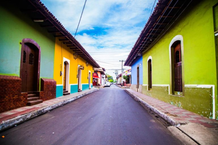 A colorful neighborhood in Nicaragua