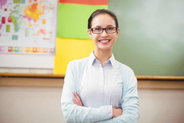 a happy female teacher