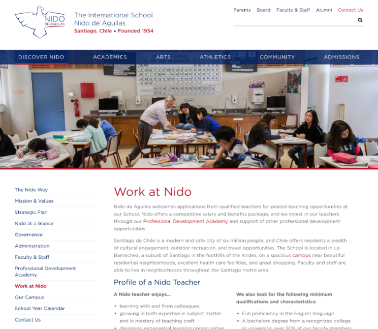 Career Website of the Nido International School in Santiago de Chile