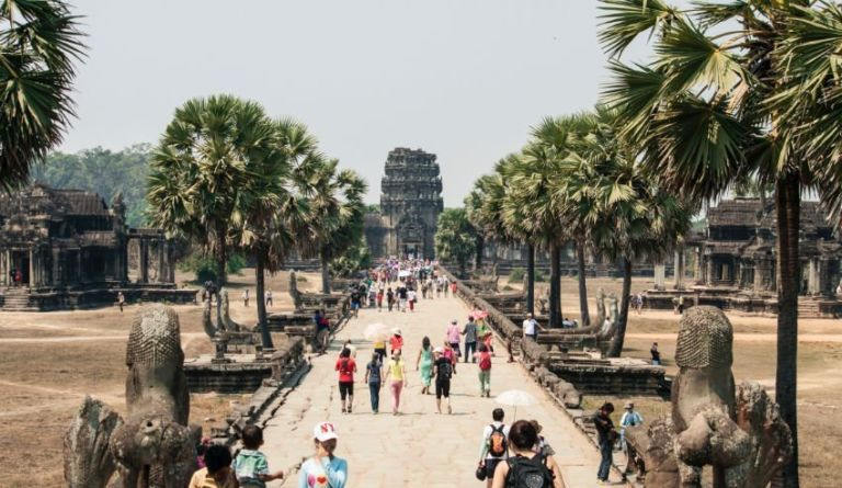 Tourists visiting the Angkor Wat Temple, Cambodia