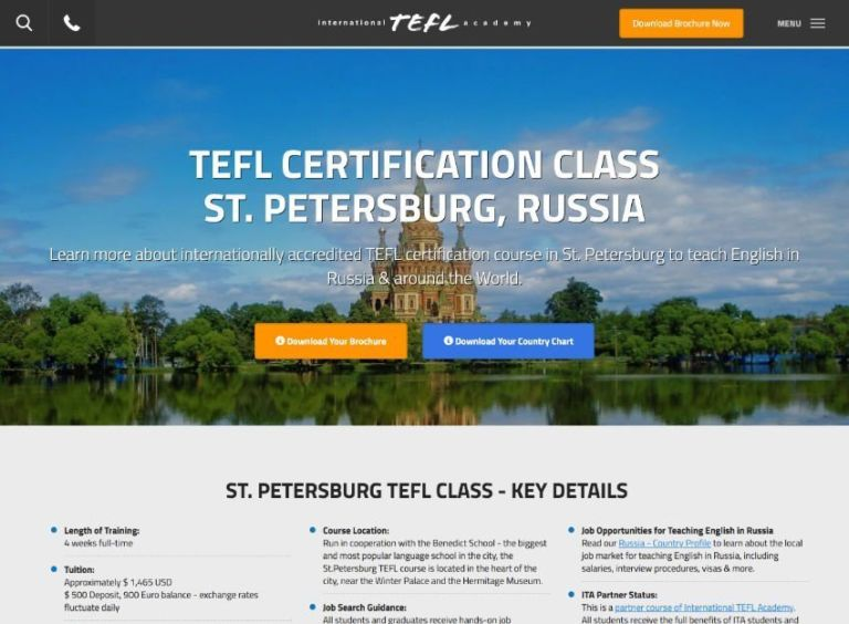 Take a 4-week TEFL course in St. Petersburg with ITA