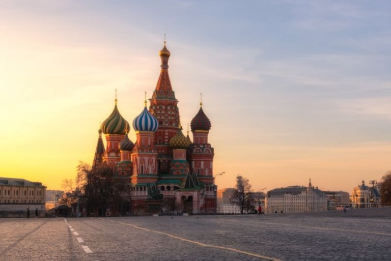 The Saint Basil's Cathedral at Red Square in Moscow, Russia.