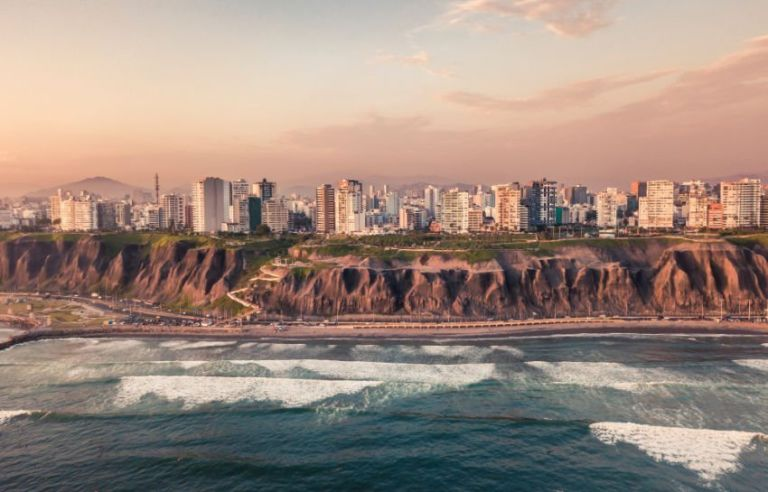 View from the sea on Lima, Peru