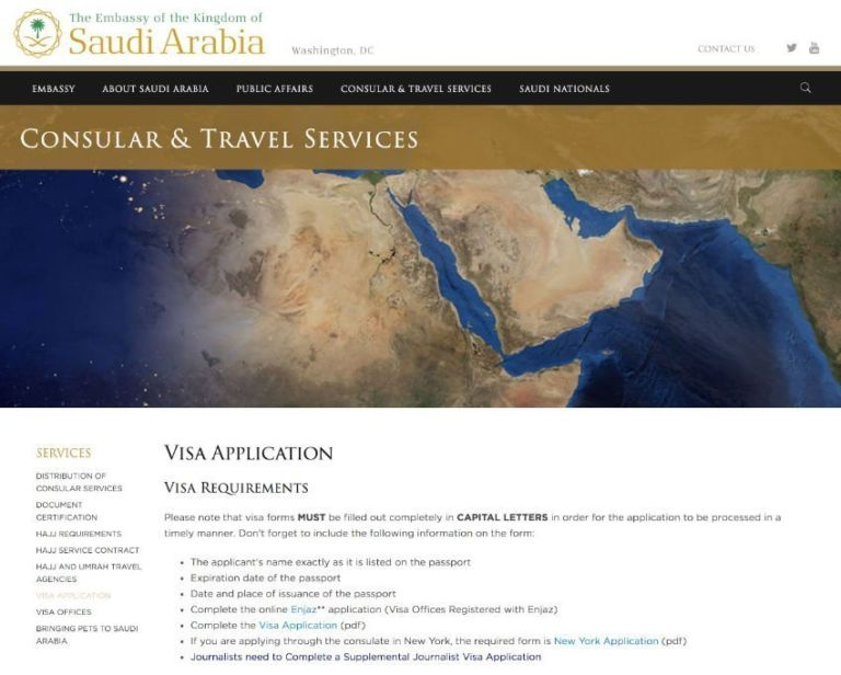 Visa application information from the Saudi Arabian Embassy (saudiembassy.net)
